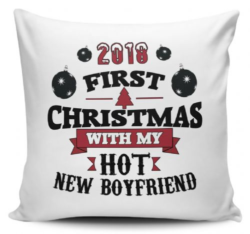 2018 First Christmas With My Hot New... Funny Novelty Cushion Cover